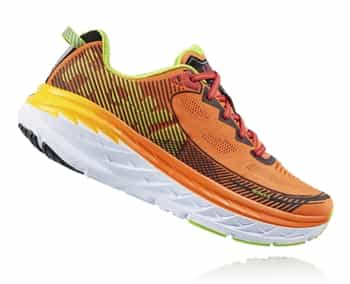 Mens Hoka BONDI 5 Road Running Shoes - Red Orange / Gold Fusion