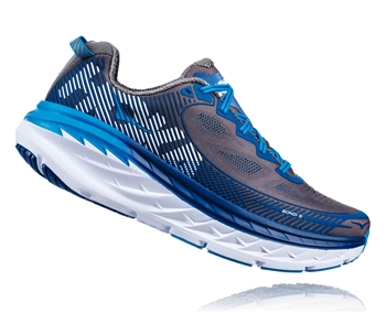 Mens Hoka BONDI 5 WIDE Road Running Shoes - Charcoal Gray / True Blue