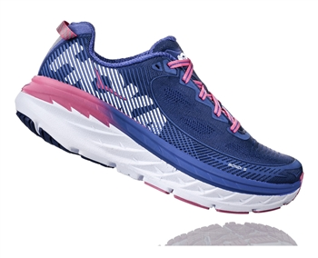 Womens Hoka BONDI 5 WIDE Road Running Shoes - Blueprint / Surf The Web