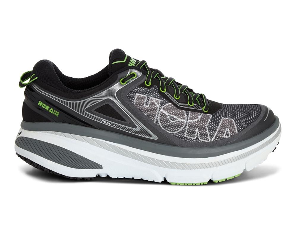 Hoka Green 4 Bondi Road Men's Shoes Black Flash Grey Running YbW2ED9eHI