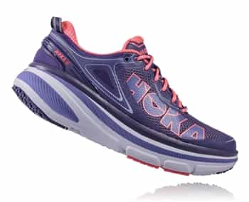 Womens Hoka BONDI 4 Road Running Shoes - Mulberry Purple / Neon Pink