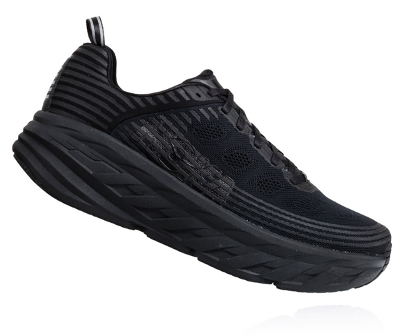 Mens Hoka BONDI 6 WIDE Road Running Shoes - Black / Black