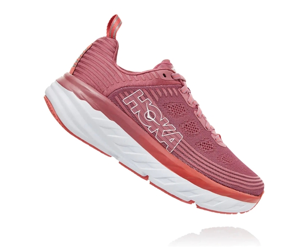 Womens Hoka BONDI 6 Road Running Shoes - Heather Rose / Lantana