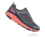 Womens Hoka CHALLENGER ATR 5 Trail Running Shoes - Charcoal Gray / Fusion Coral