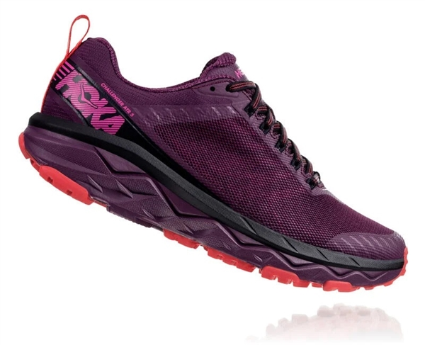 Womens Hoka CHALLENGER ATR 5 WIDE Trail Running Shoes - Italian Plum / Poppy Red