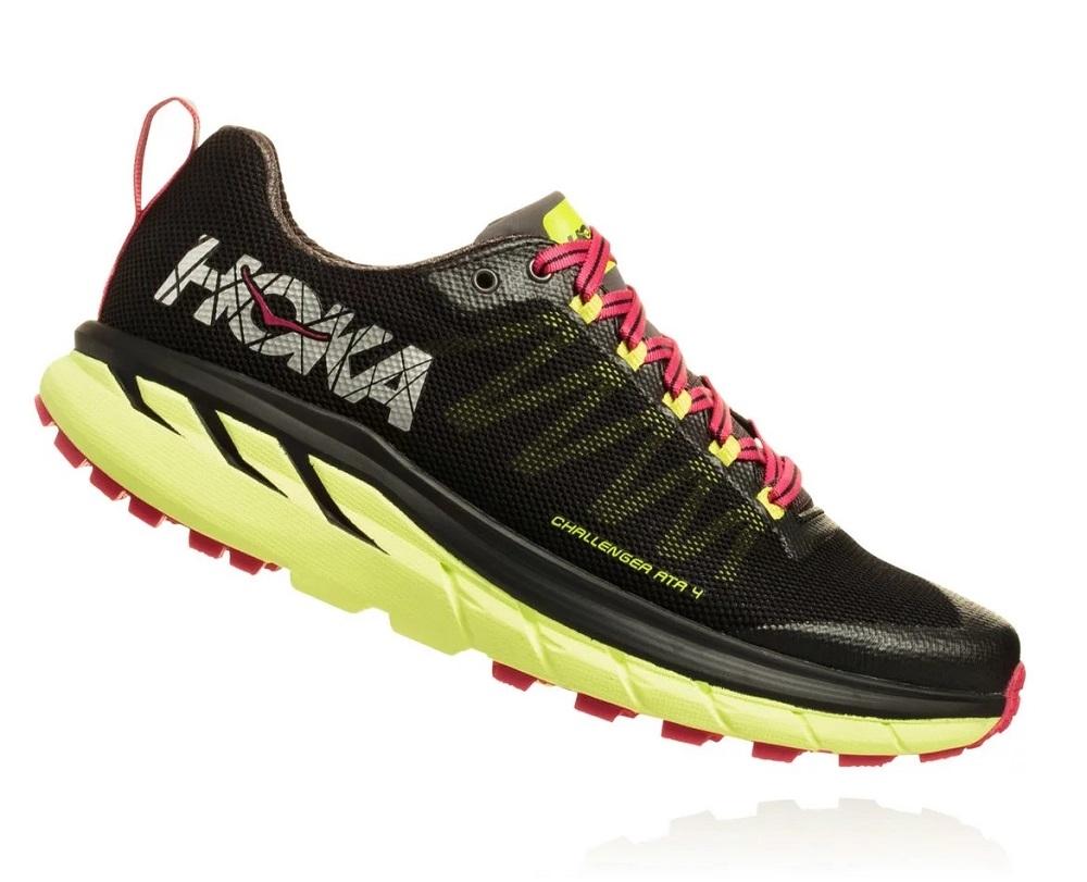 Womens Hoka CHALLENGER ATR 4 Trail Running Shoes - Black   Sharp Green 4c2e86561