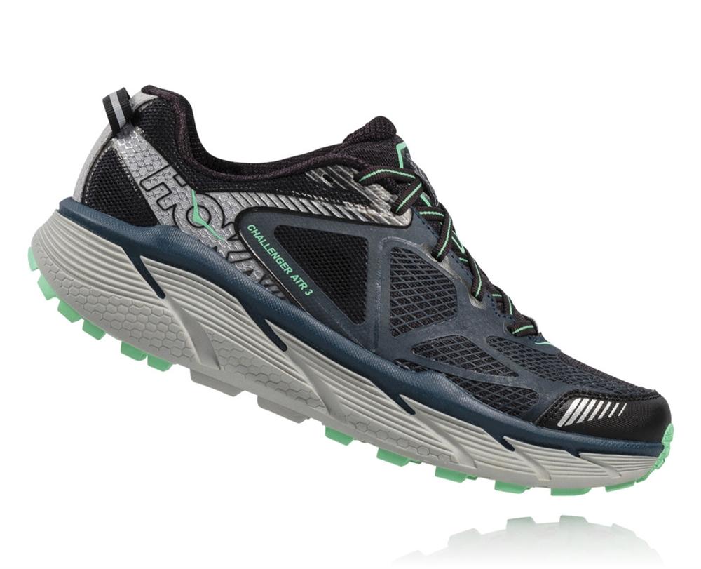 Womens Hoka CHALLENGER ATR 3 Trail Running Shoes - Midnight Navy   Spring  Bud c95b0a56d37
