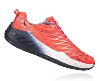 Womens Hoka CLAYTON 2 Road Running Shoes - Neon Coral / Nimbus Cloud