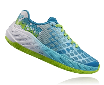 Womens Hoka CLAYTON Road Running Shoes - Bright Green / Blue Atoll