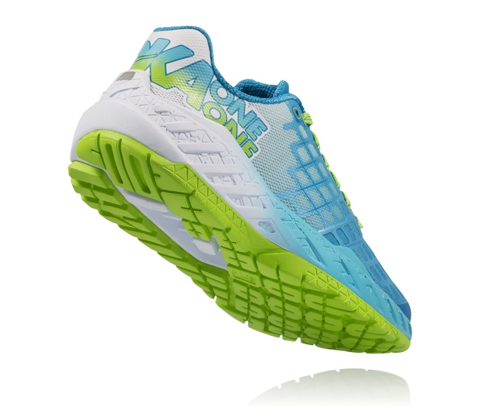 Hoka One One Womens Clayton Shoes In Bright Green Blue
