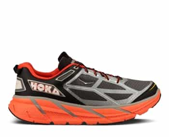 Mens Hoka CLIFTON Road Running Shoes - Silver / Flame / Black