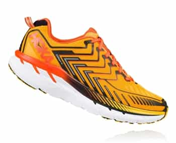 Mens Hoka CLIFTON 4 Road Running Shoes - Saffron / Red Orange