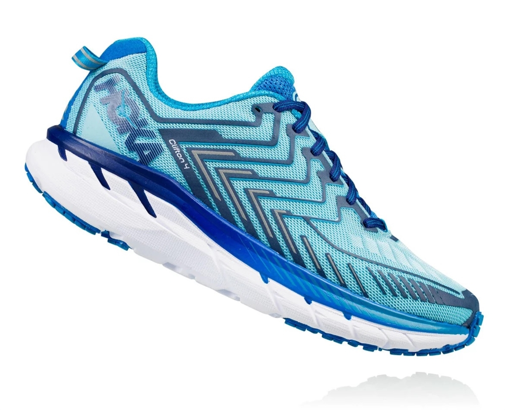 best website 4b40f 79524 Women's Hoka CLIFTON 4 Shoes - Blue Topaz / Imperial Blue