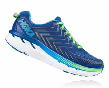 Mens Hoka CLIFTON 4 WIDE Road Running Shoes - True Blue / Jasmine Green