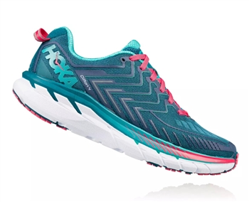 Womens Hoka CLIFTON 4 WIDE Road Running Shoes - Blue Coral / Ceramic