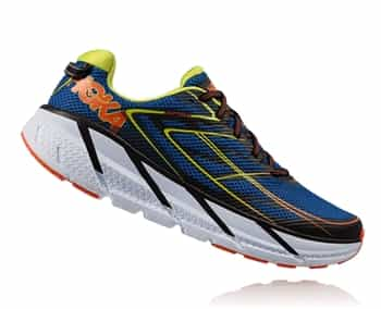 Mens Hoka CLIFTON 3 Road Running Shoes - Blue / Red Orange