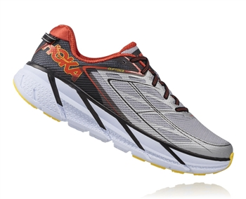 Mens Hoka CLIFTON 3 Road Running Shoes - Grey / Orange Flash