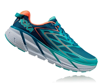 Womens Hoka CLIFTON 3 Road Running Shoes - Blue Jewel / Neon Coral
