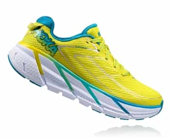 Womens Hoka CLIFTON 3 Road Running Shoes - Citrus / Blue Jewel