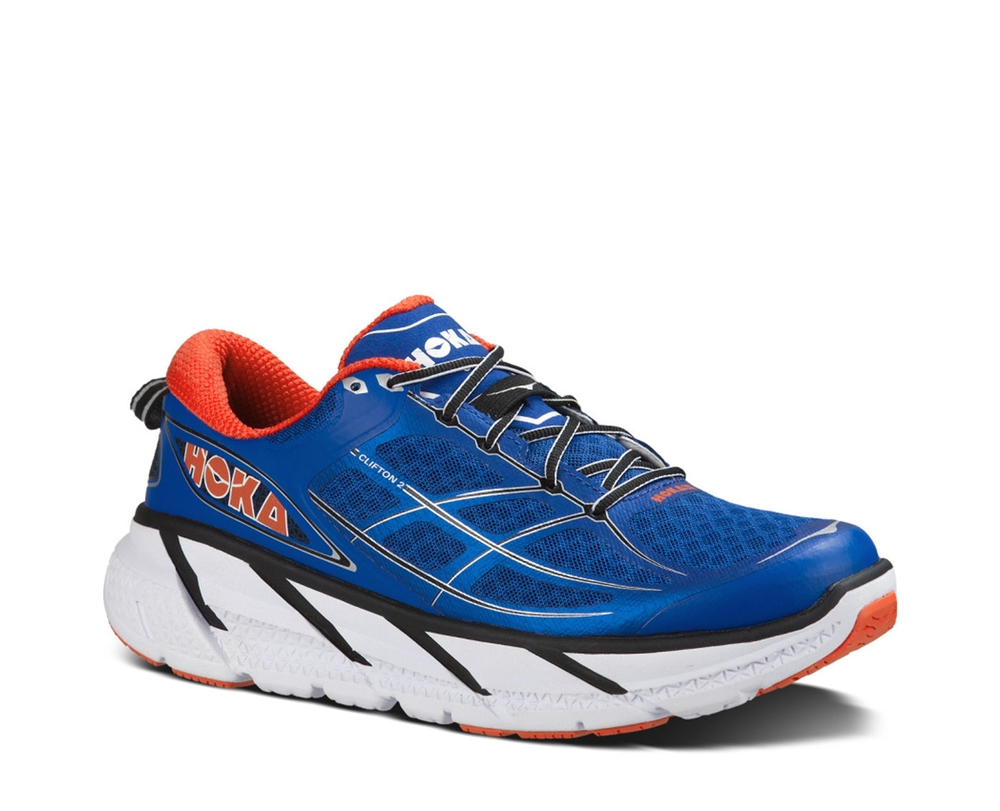 Hoka Shoes: CLIFTON 2 - True Blue / Orange Flash