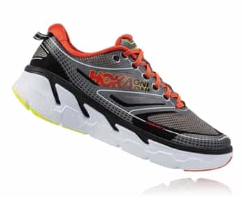 Mens Hoka CONQUEST 3 Road Running Shoes - Grey / Orange Flash