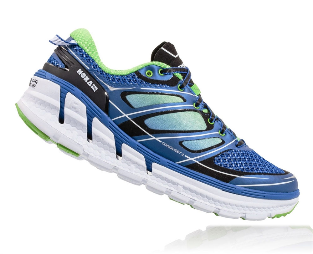 Mens Hoka CONQUEST 2 Road Running Shoes - Blue / Green Flash / White HOKA  CONQUEST 2 ( MEN ) View Larger Photo Email ...