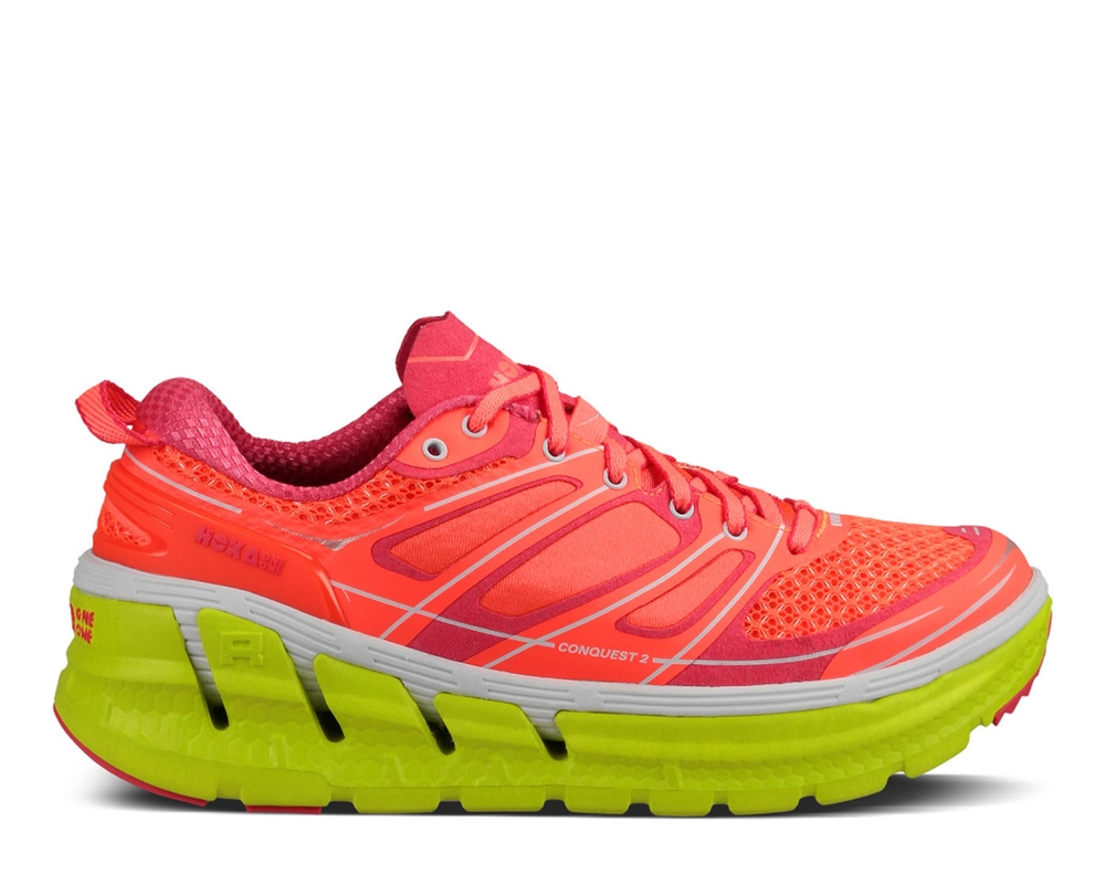 f8251bd0f7ba1 Womens Hoka CONQUEST 2 Road Running Shoes - Neon Coral / Citrus HOKA  CONQUEST 2 ( WOMEN ) View Larger Photo Email ...