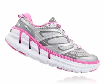 Womens Hoka CONQUEST 2 Road Running Shoes - Silver / Fushia