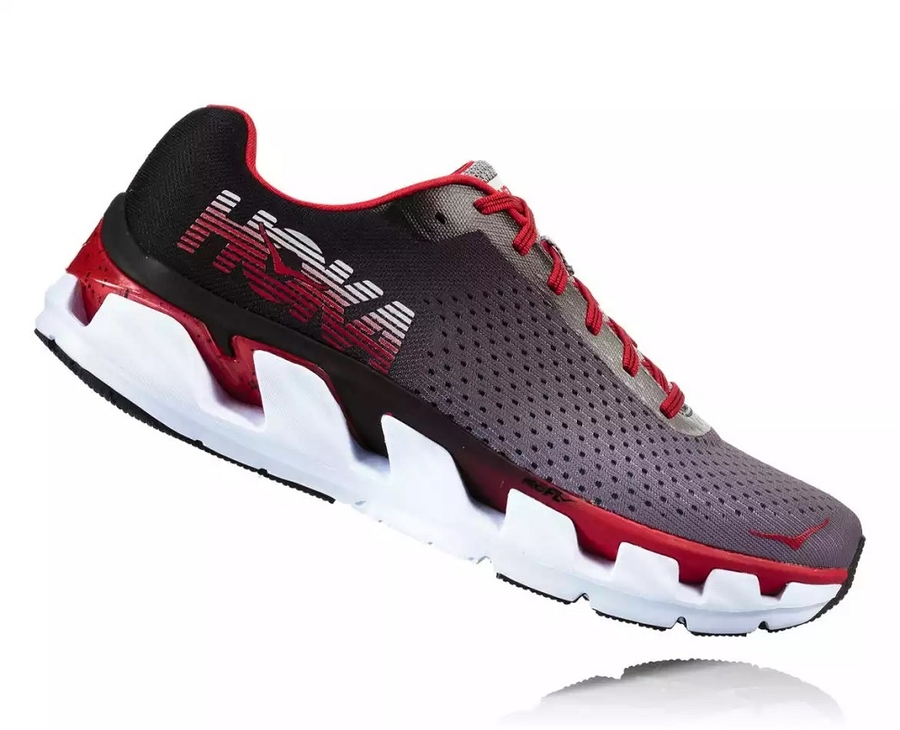 2412d96a5c16 Mens Hoka ELEVON Fly Collection Road Running Shoes - Black   Racing Red