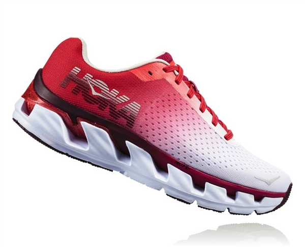 Womens Hoka ELEVON Fly Collection Road Running Shoes - White / Cherries Jubilee
