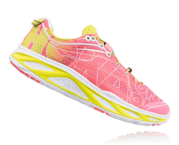 Womens Hoka HUAKA Road Running Shoes - Neon Pink / Acid