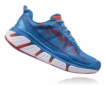 Womens Hoka INFINITE Road Running Shoes - Dresden Blue / Poppy Red
