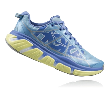 Womens Hoka INFINITE Road Running Shoes - Sky Blue / Sunny Lime