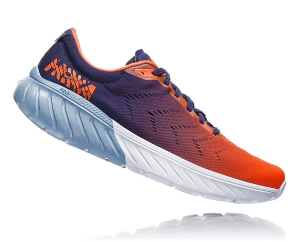 Mens Hoka One One MACH 2 road running shoes - Patriot Blue / Nasturtium