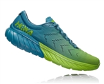 Mens Hoka One One MACH 2 road running shoes - Storm Blue / Lime Green