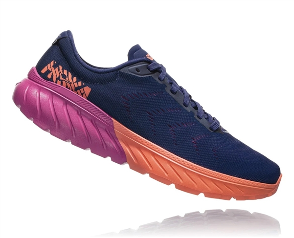 Womens Hoka One One MACH 2 road running shoes - Medieval Blue / Very Berry