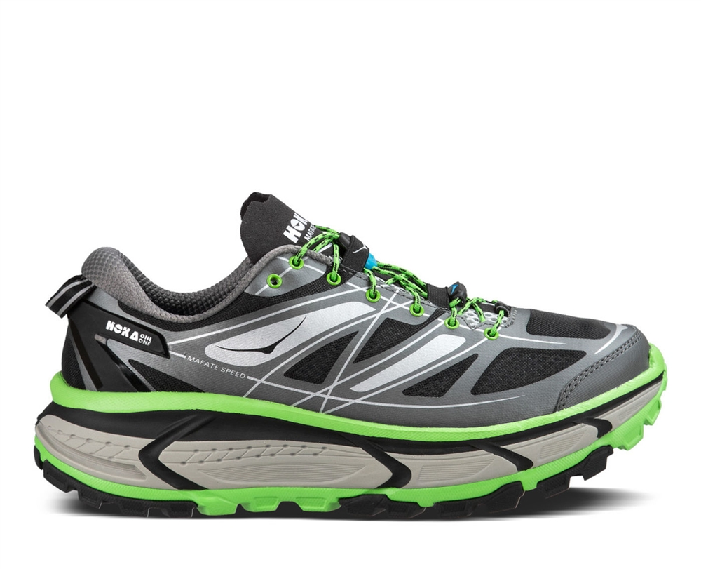 2107cef41edad0 Men s Hoka MAFATE SPEED Trail Running Shoes - Grey   Green Flash ...