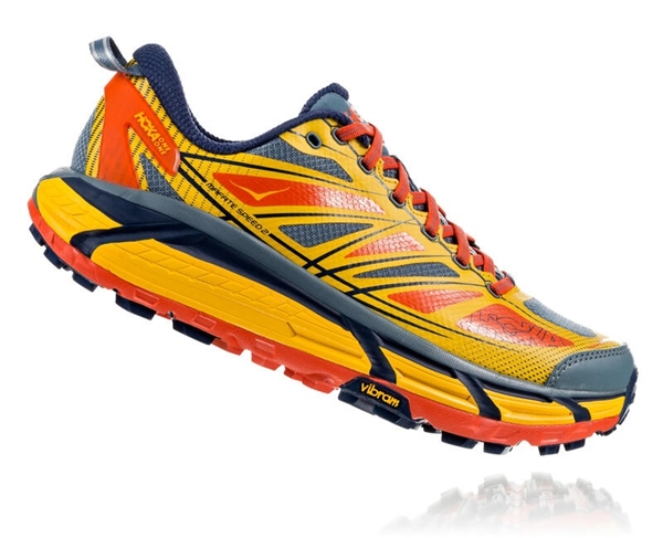 Mens Hoka MAFATE SPEED 2 Trail Running Shoes - True Red / Citrus