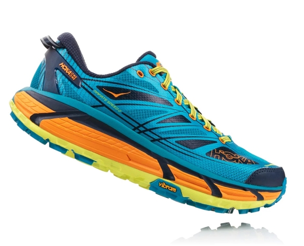 Mens Hoka MAFATE SPEED 2 Trail Running Shoes - Caribbean Sea / Autumn Glory