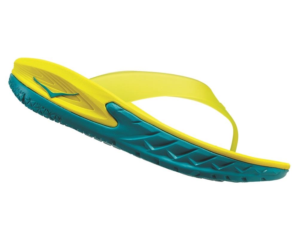 dcc560b7e0ee Mens Hoka ORA RECOVERY FLIP Trail Running Recovery Sandals - Caribbean Sea    Primrose