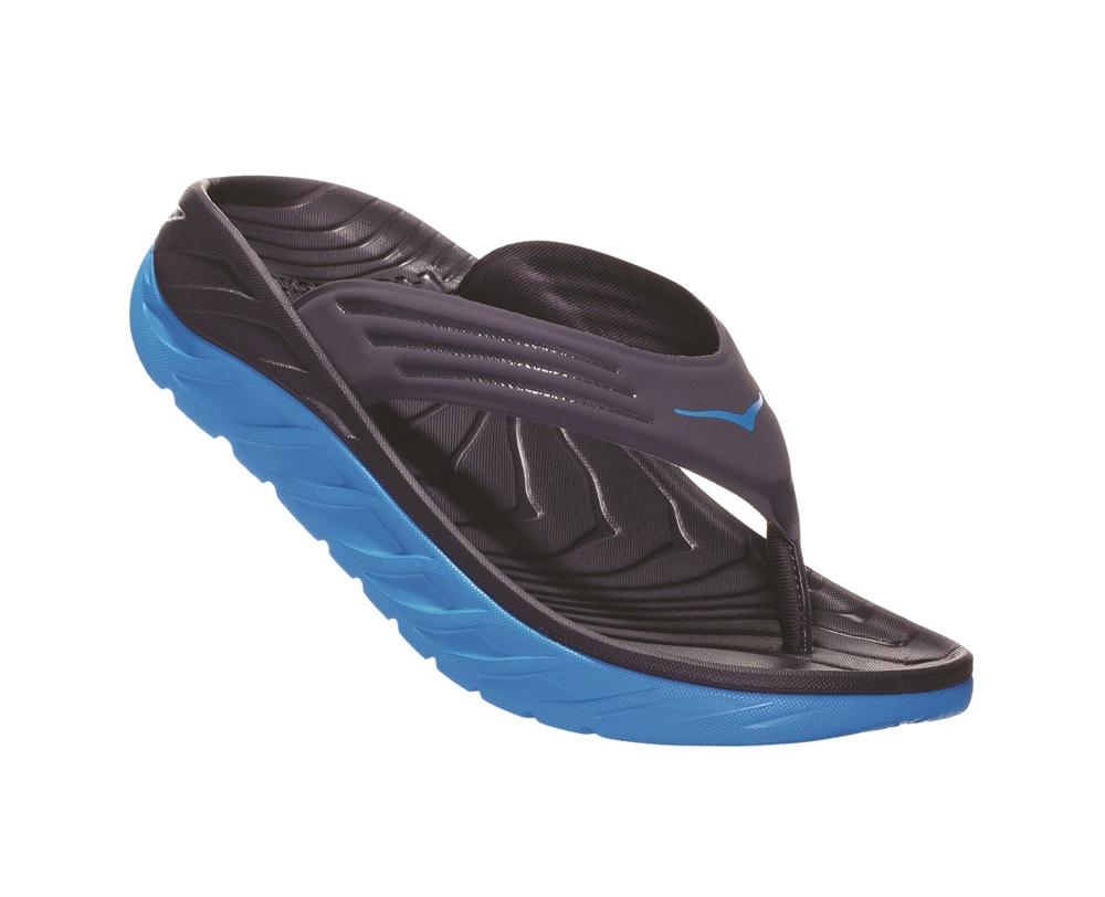4cef10c63cc9 Mens Hoka ORA RECOVERY FLIP 2 trail running recovery flip-flop sandals -  Ebony