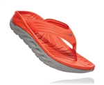 Mens Hoka ORA RECOVERY FLIP 2 trail running recovery flip-flop sandals - Mandarin Red / Wild Dove