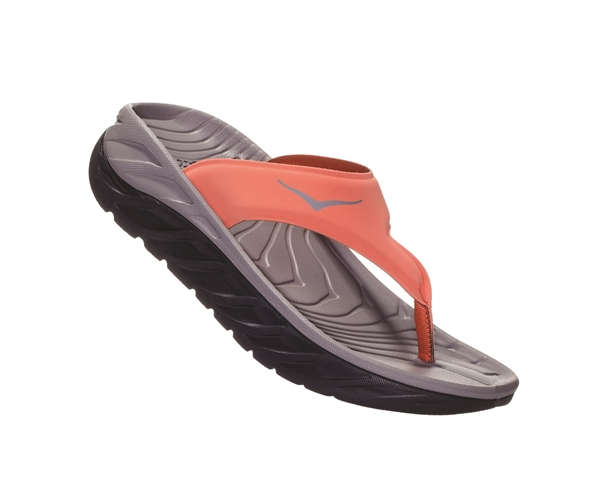 Womens Hoka ORA RECOVERY FLIP 2 trail running recovery flip-flop sandals - Ebony / Emberglow