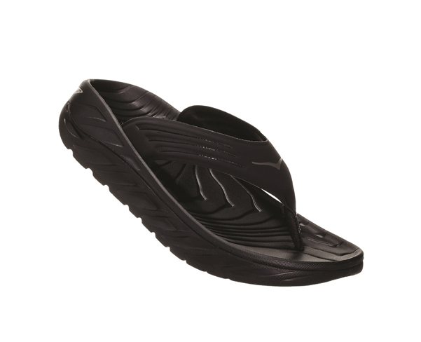 Womens Hoka ORA RECOVERY FLIP 2 trail running recovery flip-flop sandals - Black / Dark Gull Gray