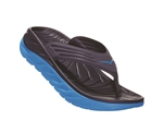 Womens Hoka ORA RECOVERY FLIP 2 trail running recovery flip-flop sandals - Ebony / Dresden Blue