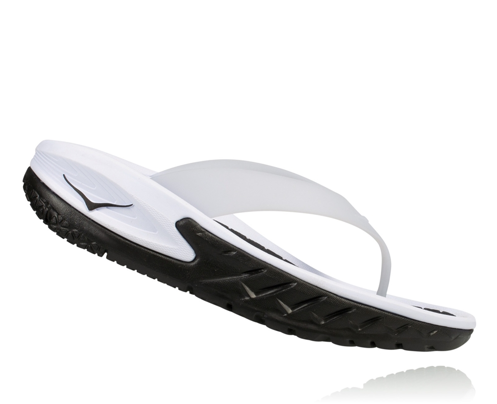 2539251c611d Womens Hoka ORA RECOVERY FLIP Trail Running Recovery Sandals - Black   White