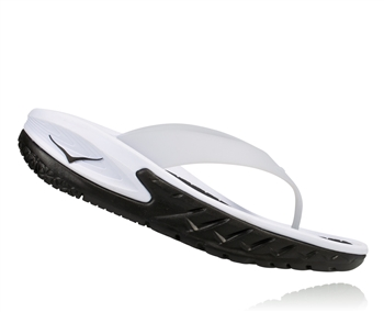 Womens Hoka ORA RECOVERY FLIP Trail Running Recovery Sandals - Black / White