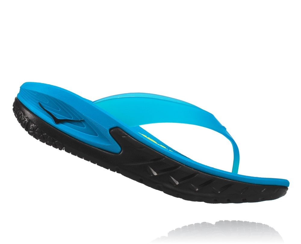 801935f97054 Womens Hoka ORA RECOVERY FLIP Trail Running Recovery Sandals - Black    Process Blue