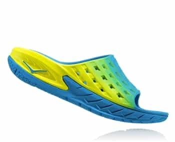 Mens Hoka ORA RECOVERY SLIDE Trail Running Recovery Sandals - Blue / Citrus