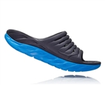Mens Hoka ORA RECOVERY SLIDE 2 trail running recovery sandals - Ebony / Dresden Blue